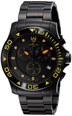 Swiss Eagle Men's SE-9001-66 Sea Bridge Analog Display Swiss Quartz Black Watch