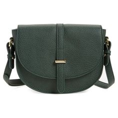 Women's Bp. Faux Leather Saddle Crossbody Bag ($45) ❤ liked on Polyvore featuring bags, handbags, shoulder bags, hunter green multi, vegan purses, saddle bags, crossbody shoulder bags, crossbody purses and cross body
