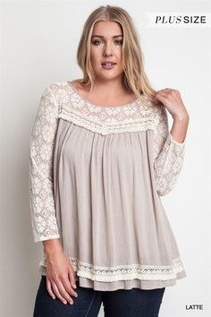 Latte Lace Top- Plus Size