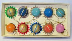 Erzgebirge Germany Wooden Mid Century Modern Atomic Sputnik Space Age Ornaments