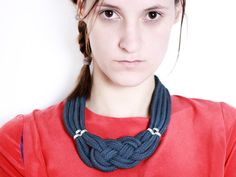 I am sailing  Necklace in dark slate grey with knot von ChezKristel, $44.00
