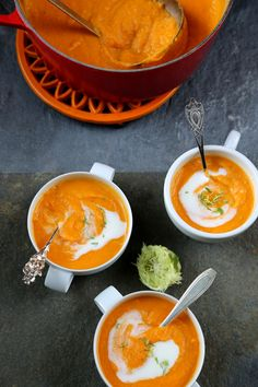 Roasted Sweet Potato Soup with Ginger  Lime