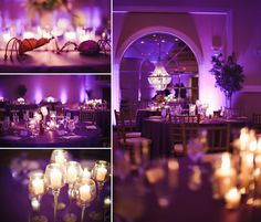 Lovely purple up-lighting and elegant table settings make the details at this reception pop!