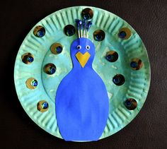 """Paper Plate Peacock and suggested """"peacock"""" storybook."""