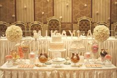 Vintage, lace, christening dessert table by mon tresor & couture cupcakes & cookies