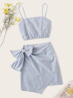 Product name: Pinstripe Shirred Back Cami Top & Knot Overlap Skirt Set at SHEIN, Category: Two-piece Outfits Girls Fashion Clothes, Teen Fashion Outfits, Girly Outfits, Kids Outfits, Girl Fashion, Cute Summer Outfits, Cute Casual Outfits, Blazer En Tweed, Moderne Outfits