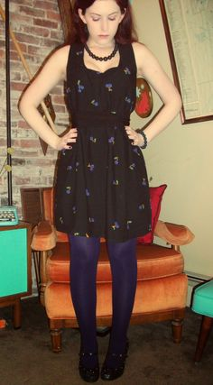 Craft, Thrift, or Die: Paint it Black: Refashion theme for the month! Cherry dress after. thrift store dress refashion