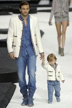 Chanel show - Hudson Kroenig, age one, with his dad, male supermodel Brad Kroenig