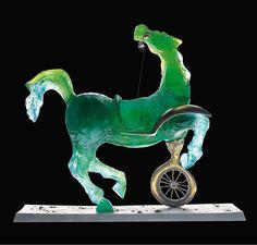"""SALVADOR DALI FOR DAUM  """"The Velocipede Horse"""" A Green Pâte-de-Cristal and Bronze Sculpture"""
