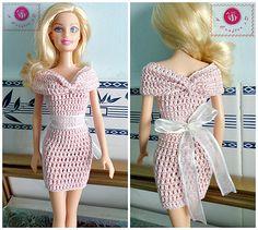 Crochet Patterns Galore - Fashion Doll Off the Shoulder Dress