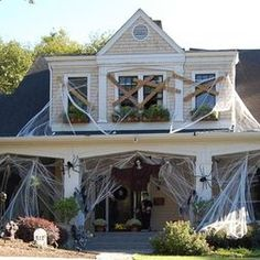 exterior design spooky outdoor halloween decoration with spider nets and scary graveyard spooky halloween outdoor decorating ideas for you - Halloween Decorations Outside