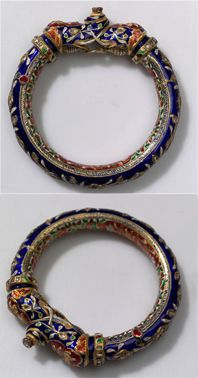 India | Bracelet; metal (gold), enamel and diamond | ca, early to mid 20th century