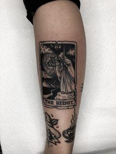 The Hermit tarot card by Jose Arvizu at Ace of Hearts in Long Beach, Ca. Time Tattoos, Dog Tattoos, Body Art Tattoos, Tatoos, Dreamer Tattoo, Led Zeppelin Tattoo, Dark Mark Tattoos, Tattoo Nightmares, The Hermit Tarot