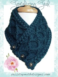 Womens Neckwarmer Teal Irish Cable in Caron Simply Soft Ocean #cpromo