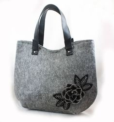 Felt tote Shopper bag Felted purse Handbag for lady Rose bag Felt Roses, Key Bag, Felt Purse, Leather Bags Handmade, Black Felt, Brown Bags, Everyday Bag, Shopper Bag, Black Faux Leather