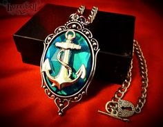Anchor Necklace - Aqua & Silver, Anchor Pendant, Nautical Jewelry, Rockabilly Jewelry $18