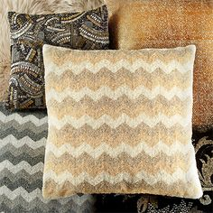 this chevron bead pillow takes its inspiration from the vivid days of old hollywood, when hems draped low and diamonds sparkled brightly in the