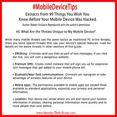 #MobileDeviceTips #smartphone and tablets are being targeted in record numbers for #cybercrime. Cyber criminals are using some special threats like SMiShing, Premium SMS etc.