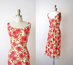 1950s Rose Print Dress / 50s 60s Cocktail Dress on Etsy, $88.00