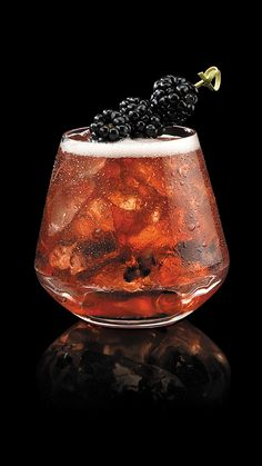 After Midnight in Kentucky Cocktail with Maker's Mark Bourbon, Blackberries, DeKuyper Schnapps Liqueur, Ginger Ale
