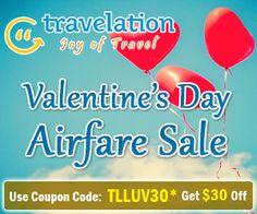 Valentine's Day Exclusive Airfare Deals! Get $30* Off