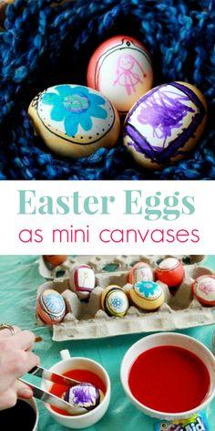 Easter Egg Ideas for Kids - Easter eggs as mini canvases for Art