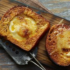Go bold by grilling a classic toad in the hole breakfast favorite on a cedar plank. Toasts filled with smoky flavored eggs and topped with melted Cheddar cheese is a fun dish great for weekend brunch.