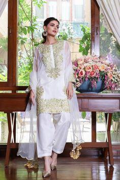 White Kurta, Shalwar Kameez, Shirt Price, Pakistani Dresses, Pearl White, Style Me, Female Style, Silk, Formal