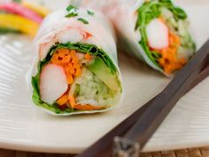 Healthy Low Calorie Meals, Low Calorie Recipes, Healthy Eating, Summer Rolls, Spring Rolls, Mozzarella Sandwich, Sushi Night, Snack Recipes, Healthy Recipes