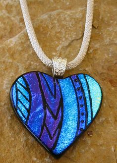 Dichroic Fused Glass Hand Etched Pendant Valentine by GlassCat,