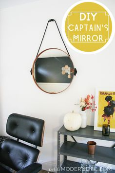 DIY Copper Captain's Mirror from a $32 Ikea mirror, rope, and boat cleats!! So easy + cute!