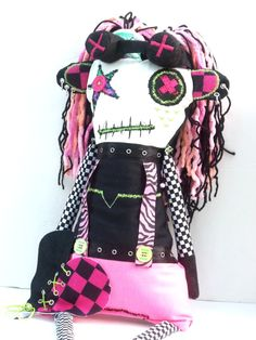 """The Misfit Cyberpunk """"Pussycat"""" Jones Version 1.0 my newest Art Doll!!!! shes really big! she stands 3 feet and 2 inches tall!!!!!!!!!"""