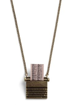 Just My Typewriter Necklace by And Mary - Gold, Casual, International Designer, Steampunk, Scholastic/Collegiate
