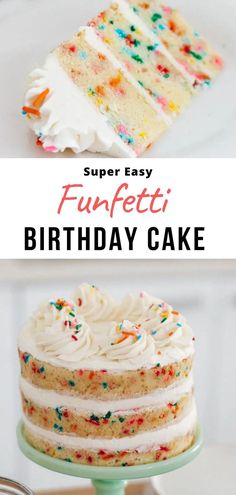 Learn how to make this amazing homemade funfetti cake from scratch. It's moist, fluffy and dotted with sprinkles, perfect for birthdays! Cake Recipes For Kids, Layer Cake Recipes, Fun Baking Recipes, Delicious Cake Recipes, Easy Cake Recipes, Yummy Cakes, Simple Layer Cake Recipe, Easy Cakes For Kids, 3 Layer Cakes