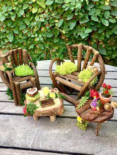 Fairy garden furniture set fairy bench and chair miniature