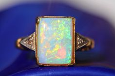 Opal Diamond Ring 10K Gold Australian – Yourgreatfinds ***ALSO SEE Vintage Jewelry at: http://MyClassicJewelry.com/shop