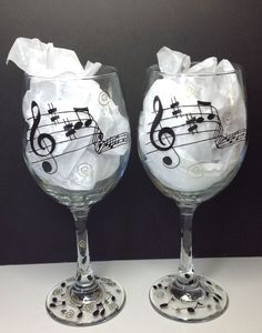 d3748f14eb9 Music Wine glass. Musical notes. Decorated Wine GlassesHand ...