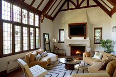 This living room in Larchmont makes me very happy. Love the vaulted ceilings.