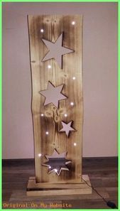 Decorative objects - wooden board with stars + LED lighting - a designer piece by F . Decorative objects – wooden board with stars + LED lighting – a unique product by FILZ_HOLZ_und Christmas Wood Crafts, Christmas Projects, Holiday Crafts, Christmas Crafts, Christmas Decorations, Wooden Projects, Wooden Crafts, Diy And Crafts, Diy Projects