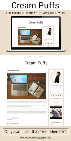 Cream Puffs - A Free Premade Blogger Template | yuniquelysweet.blogspot.com