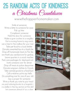 Free Printable Good Deed Christmas Countdown-such a nice idea, better than a chocolate calendar!!