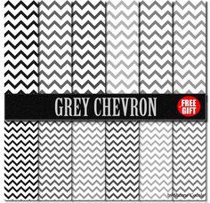 Grey Chevron paper scrapbook printable gift wrap Digital by DIGIFT, $3.99
