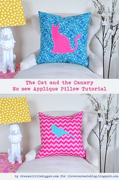 The Cat and the Canary No Sew Applique Pillow Tutorial | iLoveToCreate
