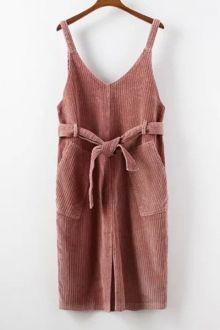 Double Pockets Scoop Neck Strap Corduroy Dress