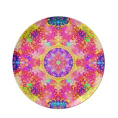 kaleidoscope fractal pink yellow party plate $28.10