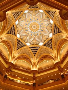 The interior ceiling of the Emirates Palace hotel in Abu Dhabi, UAE by Kevpix/Alamy
