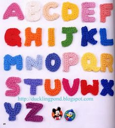 Crochet Pattern Alphabet A to Z by xsugarhuix Crochet Gratis, Crochet Chart, Filet Crochet, Cute Crochet, Crochet Motif, Crochet Flowers, Crochet Stitches, Crochet Baby, Crochet Alphabet
