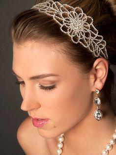 Fleur délicate nuptiale bandeau, serre-tête strass, casque nuptiale, fleur Headpiecem Bridal bandeau, statine ruban serre-tête H31W