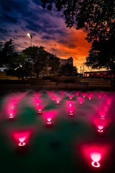 Fort Worth Water Gardens at Sunset, Texas
