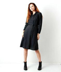 Vintage 80s  Black long Sleeve Dress / Day Dress / Simple